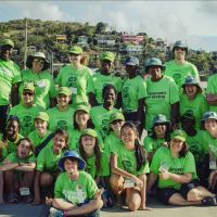 March 2016. 31 green shirts equal 31 volunteers from Canada and St. Lucia at the Rainforest of Reading wrap-up. image