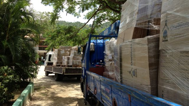 Special delivery. Schools in Ontario collected over 10,000 lbs. of gently-used books for students in St. Lucia in the village of Soufrière. image