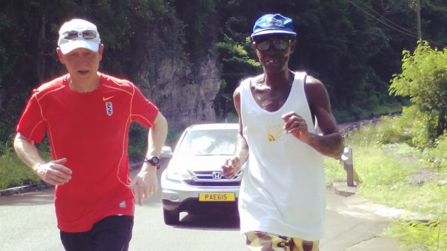 Day 1: Mile 10. I am joined by Humphrey Baptiste, a farmer in Grand Roy, who thought it would be fun to jump in. image